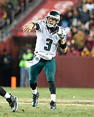 Philadelphia Eagles quarterback Mark Sanchez (3) throws a pass in the third quarter against the Washington Redskins at FedEx Field in Landover, Maryland on Saturday, December 20, 2014.  The Redskins won the game 27 - 24.<br /> Credit: Ron Sachs / CNP