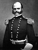 Gen. Ambrose E. Burnside, ca.  1861. Mathew Brady Collection.  (Army)<br /> Exact Date Shot Unknown<br /> NARA FILE #:  111-B-3698<br /> WAR & CONFLICT BOOK #:  128