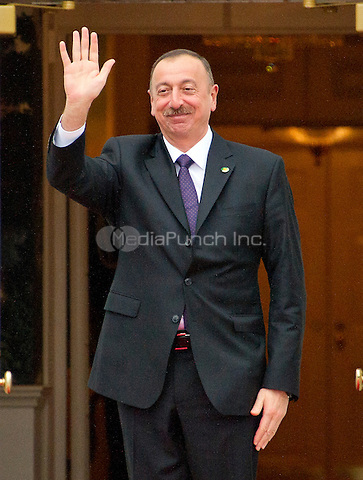 Ilham Aliyev, President of the Republic of Azerbaijan arrives for the working dinner for the heads of delegations at the Nuclear Security Summit on the South Lawn of the White House in Washington, DC on Thursday, March 31, 2016.<br /> Credit: Ron Sachs / Pool via CNP /MediaPunch