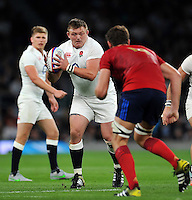 David Wilson of England in possession. QBE International match between England and France on August 15, 2015 at Twickenham Stadium in London, England. Photo by: Patrick Khachfe / Onside Images