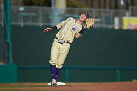 Western Carolina Catamounts third baseman Justice Bigbie (7) catches a pop fly during the game against the Saint Joseph's Hawks at TicketReturn.com Field at Pelicans Ballpark on February 23, 2020 in Myrtle Beach, South Carolina. The Hawks defeated the Catamounts 9-2. (Brian Westerholt/Four Seam Images)