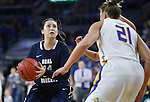 SIOUX FALLS, SD: MARCH 5: Lakota Beatty #11 of Oral Roberts looks past South Dakota State defender Clarissa Ober #21 during the Summit League Basketball Championship on March 5, 2017 at the Denny Sanford Premier Center in Sioux Falls, SD. (Photo by Dick Carlson/Inertia)