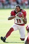 Arizona Cardinals wide receiver Larry Fitzgerald makes a catch during warm-ups before a game on the road against the Kansas City Chiefs at Arrowhead Stadium in Kansas City, Missouri on 8/10/12.