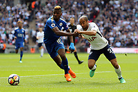 Kelechi Iheanacho of Leicester City and Lucas of Tottenham Hotspur during Tottenham Hotspur vs Leicester City, Premier League Football at Wembley Stadium on 13th May 2018