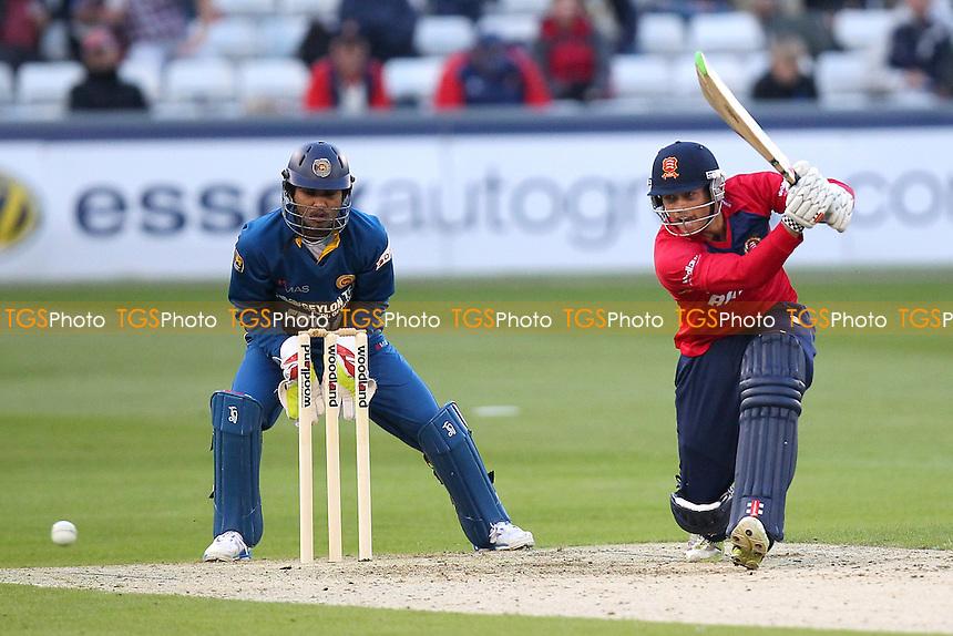 Ben Foakes hits out for Essex as Dinesh Chandimal of Sri Lanka looks on - Essex Eagles vs Sri Lanka - 50-over Tour Match at the Essex County Ground, Chelmsford - 13/05/14 - MANDATORY CREDIT: Gavin Ellis/TGSPHOTO - Self billing applies where appropriate - 0845 094 6026 - contact@tgsphoto.co.uk - NO UNPAID USE
