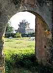 To Mieu Temple - To Mieu Temple viewed through stone arch in the Imperial Enclosure, Hue, Viet Nam