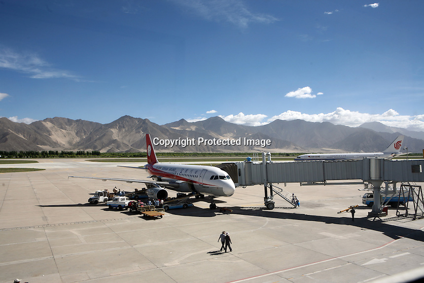 Lhasa Airport, Tibet.<br /> China.<br /> July, 2007