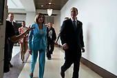 Speaker of the United States House of Representatives Nancy Pelosi (Democrat of California), joined by United States Representative Adam Schiff (Democrat of California), arrives to a press conference on Capitol Hill in Washington D.C., U.S. on October 2, 2019.<br /> <br /> Credit: Stefani Reynolds / CNP