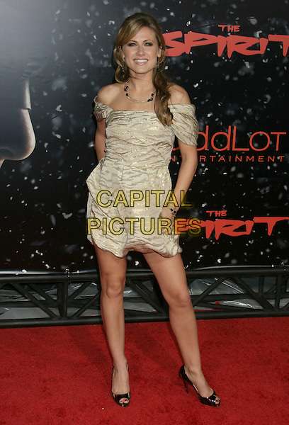 "VAIL BLOOM.""The Spirit"" Los Angeles Premiere held at Grauman's Chinese Theater, Hollywood, California, USA..December 17th, 2008.full length white silver off the shoulder gold dress.CAP/ADM/MJ.©Michael Jade/AdMedia/Capital Pictures."