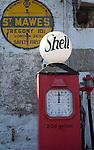 Old shell petrol pump, St Mawes, Cornwall, England, UK