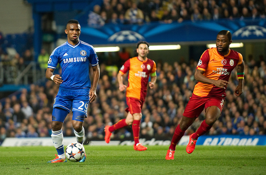 Chelsea's Samuel Eto'o in action during the match against Galatasaray  <br /> <br /> Photo by Ashley Western/CameraSport<br /> <br /> Football - UEFA Champions League First Knockout Round 2nd Leg - Chelsea v Galatasaray - Tuesday 18th March 2014 - Stamford Bridge - London<br />  <br /> &copy; CameraSport - 43 Linden Ave. Countesthorpe. Leicester. England. LE8 5PG - Tel: +44 (0) 116 277 4147 - admin@camerasport.com - www.camerasport.com