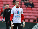 Jake Eastwood of Sheffield Utd wears a Weston park Charity t-shirt during the championship match at the Bramall Lane Stadium, Sheffield. Picture date 14th April 2018. Picture credit should read: Simon Bellis/Sportimage