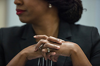 Ayanna Pressley waits to be introduced before speaking at an event put on by Chelsea Black Community at the Chelsea Senior Center in Chelsea, Massachusetts, USA, on Wed., June 27, 2018. Pressley is running in the Democratic primary Massachusetts 7th Congressional District against incumbent Mike Capuano. Pressley is currently serving as a member of the Boston City Council, and is the first woman of color elected to the Council.