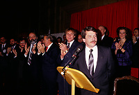 File Photo -Jean Dore assermentation as New Montreal Mayor after his election on November 9, 1986.<br /> <br /> Dore has been told he as a terminal pancreas cancer and 3 weeks to live , this September 2014.<br /> <br /> File Photo : Agence Quebec Pressse  - Stephane Fournier