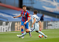 7th July 2020; Selhurst Park, London, England; English Premier League Football, Crystal Palace versus Chelsea; Joel Ward of Crystal Palace passing the ball with Cesar Azpilicueta of Chelsea challenging