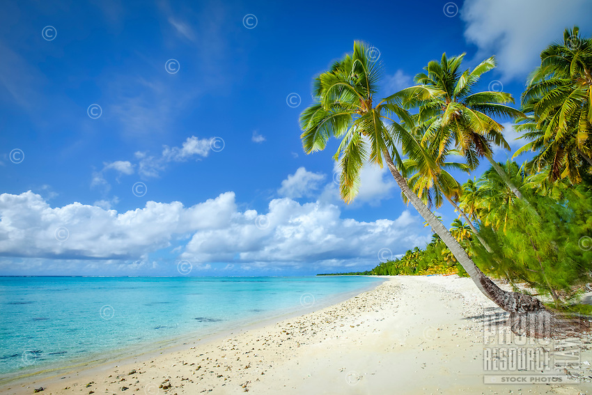The white sandy beach at Amuri, Aitutaki Island, Cook Islands.