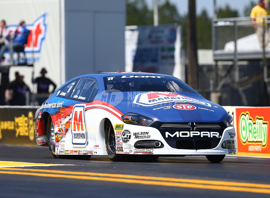 Mar 18, 2017; Gainesville , FL, USA; NHRA pro stock driver Allen Johnson during qualifying for the Gatornationals at Gainesville Raceway. Mandatory Credit: Mark J. Rebilas-USA TODAY Sports