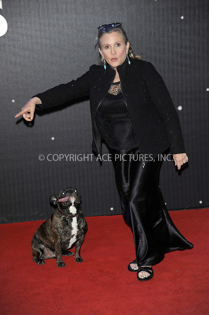 WWW.ACEPIXS.COM<br /> <br /> December 16 2015, London<br /> <br /> Carrie Fisher arriving at the European Premiere of 'Star Wars: The Force Awakens' in Leicester Square on December 16, 2015 in London, England.<br /> <br /> By Line: Famous/ACE Pictures<br /> <br /> <br /> ACE Pictures, Inc.<br /> tel: 646 769 0430<br /> Email: info@acepixs.com<br /> www.acepixs.com