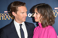 LONDON, UK. October 24, 2016: Benedict Cumberbatch &amp; wife Sophie Hunter at the &quot;Doctor Strange&quot; launch event at Westminster Abbey, London.<br /> Picture: Steve Vas/Featureflash/SilverHub 0208 004 5359/ 07711 972644 Editors@silverhubmedia.com