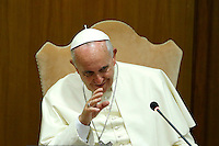 """Papa Francesco riceve in udienza i partecipanti all'Incontro Mondiale dei Dirigenti di Scholas Occurentes, nell'Aula del Sinodo, Citta' del Vaticano, 4 settembre 2014.<br /> Pope Francis meets participants in the """"Scholas Occurentes"""" executives world meeting, at the Vatican, 4 September 2014.<br /> UPDATE IMAGES PRESS/Riccardo De Luca<br /> <br /> STRICTLY ONLY FOR EDITORIAL USE"""