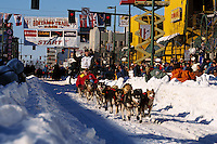 A sled team at the start of the Iditarod. Alaska.