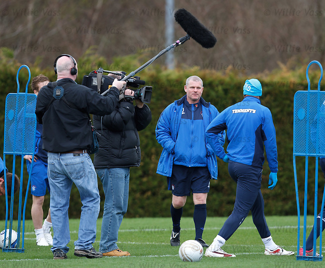Rangers players filmed at training for a TV special.