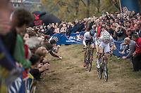 World Champion Wout Van Aert (BEL/Crelan-Vastgoedservice) leading ahead of fresh European Champion Toon Aerts (BEL/Telenet-Fidea)<br /> <br /> 25th Koppenbergcross 2016