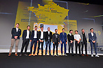 Riders on stage at the Tour de France 2018 route presentation held at Palais de Congress, Paris, France. 17th October 2017.<br /> Picture: ASO/Bruno Bade | Cyclefile<br /> <br /> <br /> All photos usage must carry mandatory copyright credit (&copy; Cyclefile | ASO/Bruno Bade)