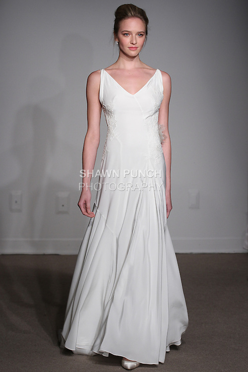 "Model walks runway in a Lara bridal gown from the Anna Maier Couture Spring 2016 ""Collection 43"" during New York Bridal Fashion Week Spring 2016."