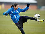 Bilel Mohsni volleys the Ramsdens matchball over the hedge and into Bearsden