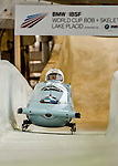 8 January 2016: Ugis Zalims, piloting his 2-man bobsled for Latvia, enters the Chicane straightaway on his second run, ending the day with a combined 2-run time of 1:51.41 and earning a 5th place finish at the BMW IBSF World Cup Championships at the Olympic Sports Track in Lake Placid, New York, USA. Mandatory Credit: Ed Wolfstein Photo *** RAW (NEF) Image File Available ***