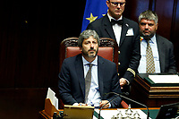 The President of the Chamber Roberto Fico<br /> Rome September 9th 2019. Lower Chamber. Programmatic speech of the new appointed Italian Premier at the Chamber of Deputies to explain the program of the yellow-red executive. After his speech the Chamber is called to the trust vote at the new Government. <br /> Foto  Samantha Zucchi Insidefoto