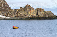 A zodiac on excursion at Aitcho Island in the South Shetland Islands near the Antarctic Peninsula.