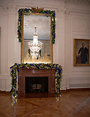 "The 2018 White House Christmas decorations, with the theme ""American Treasures"" which were personally selected by first lady Melania Trump, are previewed for the press in Washington, DC on Monday, November 26, 2018.  Mantel and mirror in the East Room. <br /> Credit: Ron Sachs / CNP"