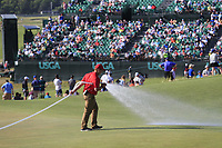 Watering the greens at the end of Saturday's Round 3 of the 118th U.S. Open Championship 2018, held at Shinnecock Hills Club, Southampton, New Jersey, USA. 16th June 2018.<br /> Picture: Eoin Clarke | Golffile<br /> <br /> <br /> All photos usage must carry mandatory copyright credit (&copy; Golffile | Eoin Clarke)