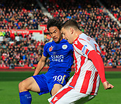 4th November 2017, bet365 Stadium, Stoke-on-Trent, England; EPL Premier League football, Stoke City versus Leicester City; Shinji Okazaki of Leicester City challenges Kevin Wimmer of Stoke City for the ball