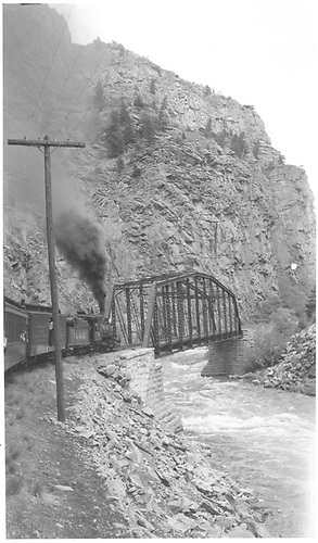 #361 in Black Canyon - eastward - Milepost 3194.  Rocky Mountain Railroad Club excursion.  Pratt steel truss bridge.  Photo taken from train.<br /> D&amp;RGW  Black Canyon, CO  Taken by Richardson, Robert W. - 1949