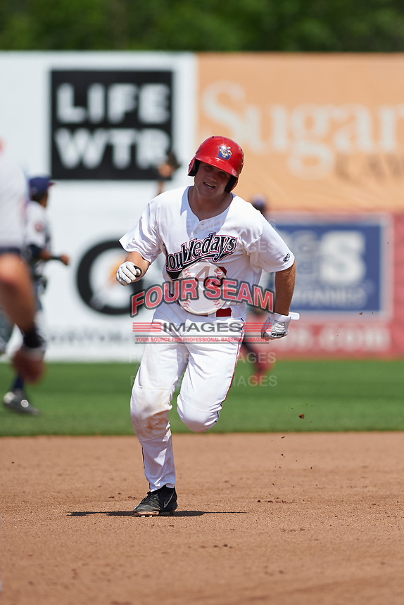 Auburn Doubledays catcher Nic Perkins (43) running the bases during the second game of a doubleheader against the Mahoning Valley Scrappers on July 2, 2017 at Falcon Park in Auburn, New York.  Mahoning Valley defeated Auburn 3-2.  (Mike Janes/Four Seam Images)