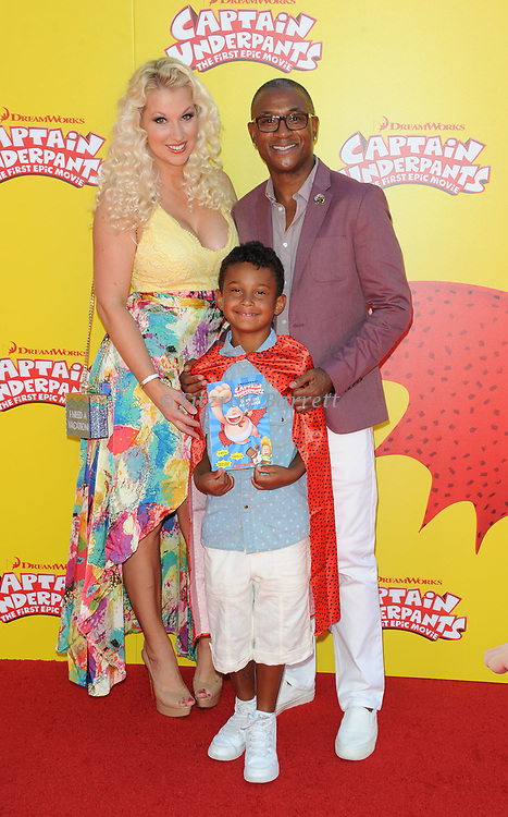 Tommy Davidson and family arriving at the Los Angeles premiere of Captain Underpants, held at the Regency Village Theater in Westwood California on May 21, 2017
