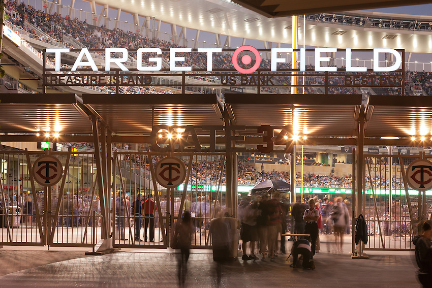 Target Field, home of the Minnesota Twins. This is Gate 34, the main gate entrance to the open air stadium.