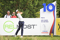 Thomas Detry (BEL) on the 10th tee during Round 1 of the D+D Real Czech Masters at the Albatross Golf Resort, Prague, Czech Rep. 31/08/2017<br /> Picture: Golffile | Thos Caffrey<br /> <br /> <br /> All photo usage must carry mandatory copyright credit     (&copy; Golffile | Thos Caffrey)