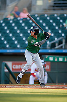 Daytona Tortugas shortstop Yonathan Mendoza (7) at bat during a Florida State League game against the Palm Beach Cardinals on April 11, 2019 at Roger Dean Stadium in Jupiter, Florida.  Palm Beach defeated Daytona 6-0.  (Mike Janes/Four Seam Images)