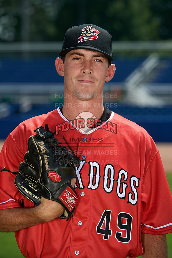 Batavia Muckdogs pitcher Martin Anderson (49) poses for a photo on July 2, 2018 at Dwyer Stadium in Batavia, New York.  (Mike Janes/Four Seam Images)