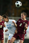 07 November 2008: Boston College's Caitlin Hiler (8) and North Carolina's Yael Averbuch (17). The University of North Carolina Tarheels defeated Boston College Eagles 2-0  at WakeMed Stadium at WakeMed Soccer Park in Cary, NC in a women's ACC tournament semifinal game.