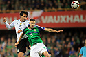 Northern Ireland's Jonny Evans clashes with Germany's  Mats Hummels during the FIFA World Cup 2018 Qualifying Group C qualifying soccer match between Northern Ireland and Germany at the National Football Stadium at Windsor Park, Belfast, Northern Ireland, 5 Oct 2017. Photo/Paul McErlane