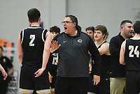 Charleston head coach BJ Ross reacts, Friday, February 14, 2020 during a basketball game at Elkins High School in Elkins. Check out nwaonline.com/prepbball/ for today's photo gallery.<br /> (NWA Democrat-Gazette/Charlie Kaijo)