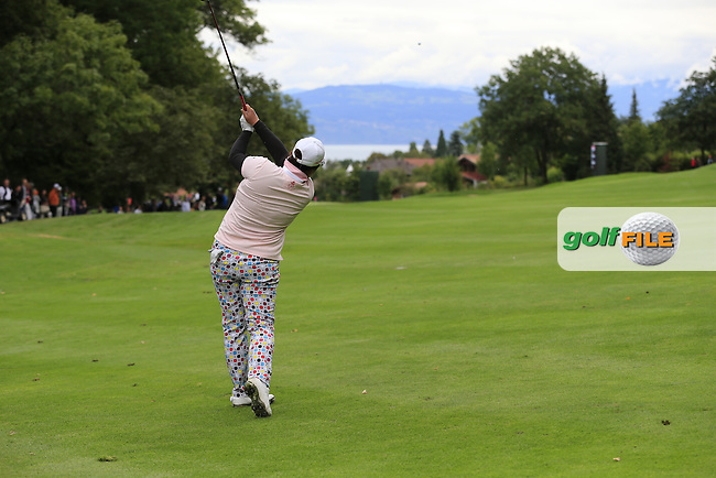 Shanshan Feng (CHN) plays her 2nd shot on the 13th hole during Saturday's Round 3 of The 2016 Evian Championship held at Evian Resort Golf Club, Evian-les-Bains, France. 17th September 2016.<br /> Picture: Eoin Clarke | Golffile<br /> <br /> <br /> All photos usage must carry mandatory copyright credit (&copy; Golffile | Eoin Clarke)