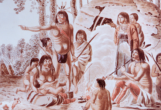 Historic painting of an Ojibwa  (Chippewa) Family in front of wigwam pre-European contact by Peter Rindisbacher