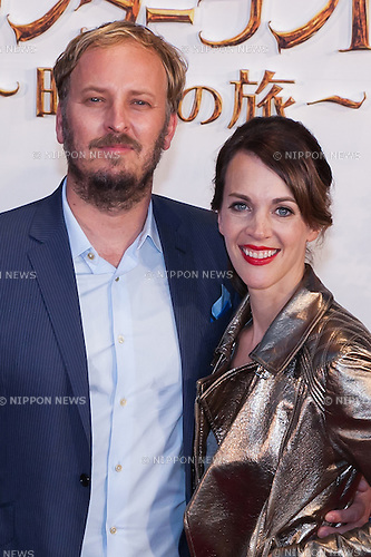 Director James Bobin (L) and  his wife Francesca Beauman (R) pose for the cameras during the Japan premiere for the film Alice Through the Looking Glass on June 21, 2016, Tokyo, Japan. Australian actress Mia Wasikowska wearing a elegant black dress was joined by producer Suzanne Todd and director James Bobin to promote their sequel to Alice in Wonderland (2010) at Roppongi Hills Arena. The film hits Japanese theaters on July 1st. (Photo by Rodrigo Reyes Marin/AFLO)