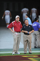 Tempe, AZ - SEPTEMBER 6:  Director of football administration Mike Eubanks (L) and Jim Stump (R) of the Stanford Cardinal during Stanford's 41-17 loss against the Arizona State Sun Devils on September 6, 2008 at Sun Devil Stadium in Tempe, Arizona.